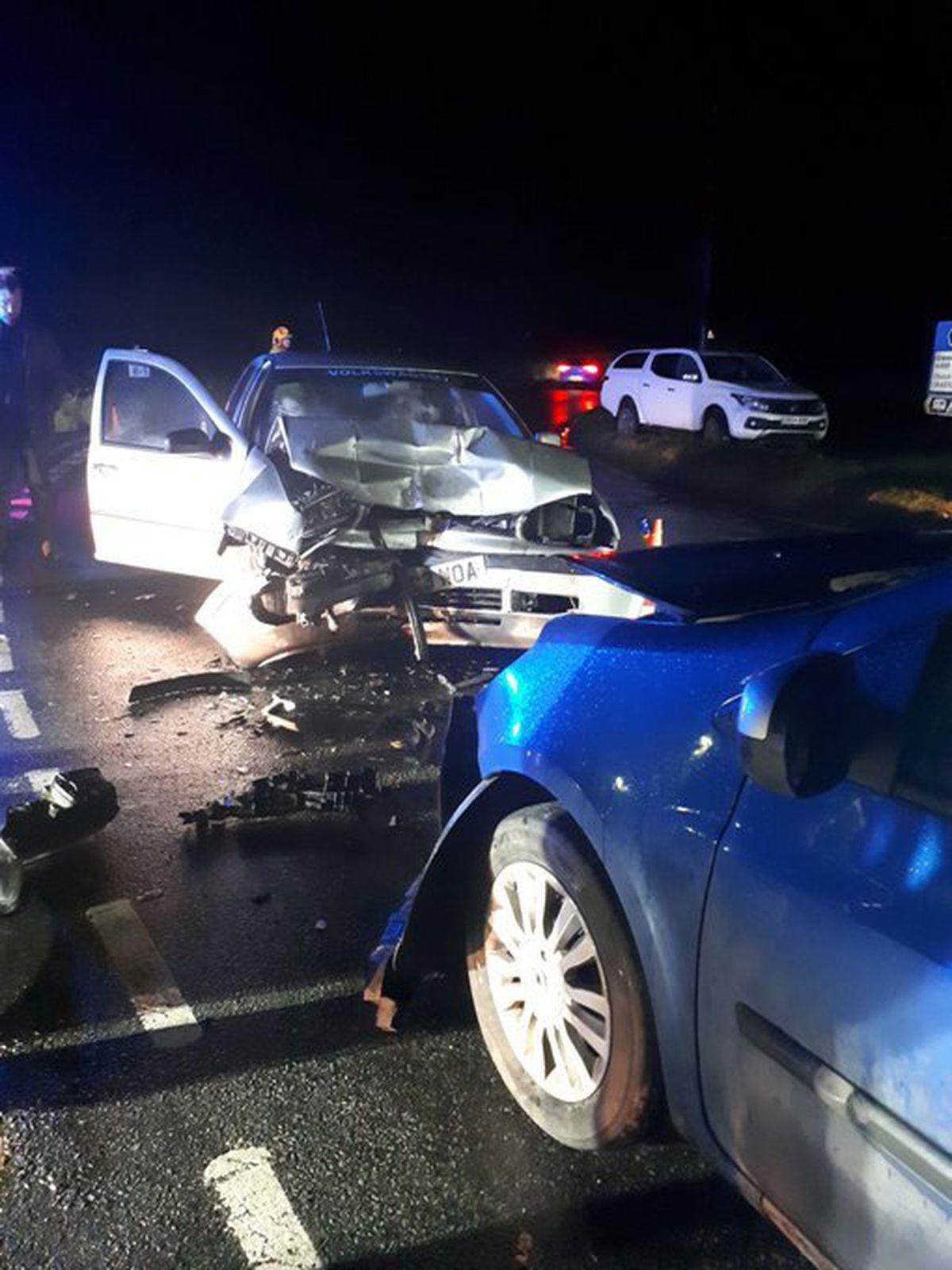 The crash in Bishops Castle. Pic: @SouthShropCops