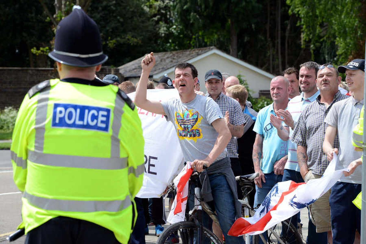 EDL supporters gather in Shrewsbury on Saturday