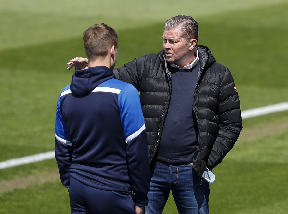 Steve Cotterill the head coach / manager of Shrewsbury Town returns to the ground for the first time having recovered from COVID-19 (AMA)