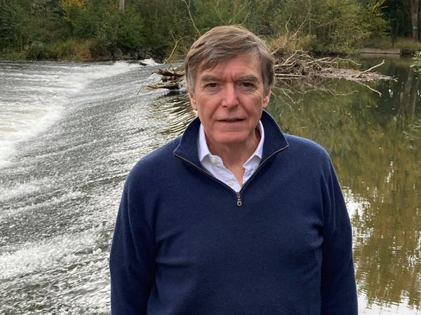 Ludlow MP Philip Dunne at the River Teme
