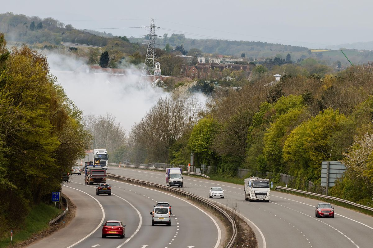 Smoke continues to drift across the M54 on Tuesday morning