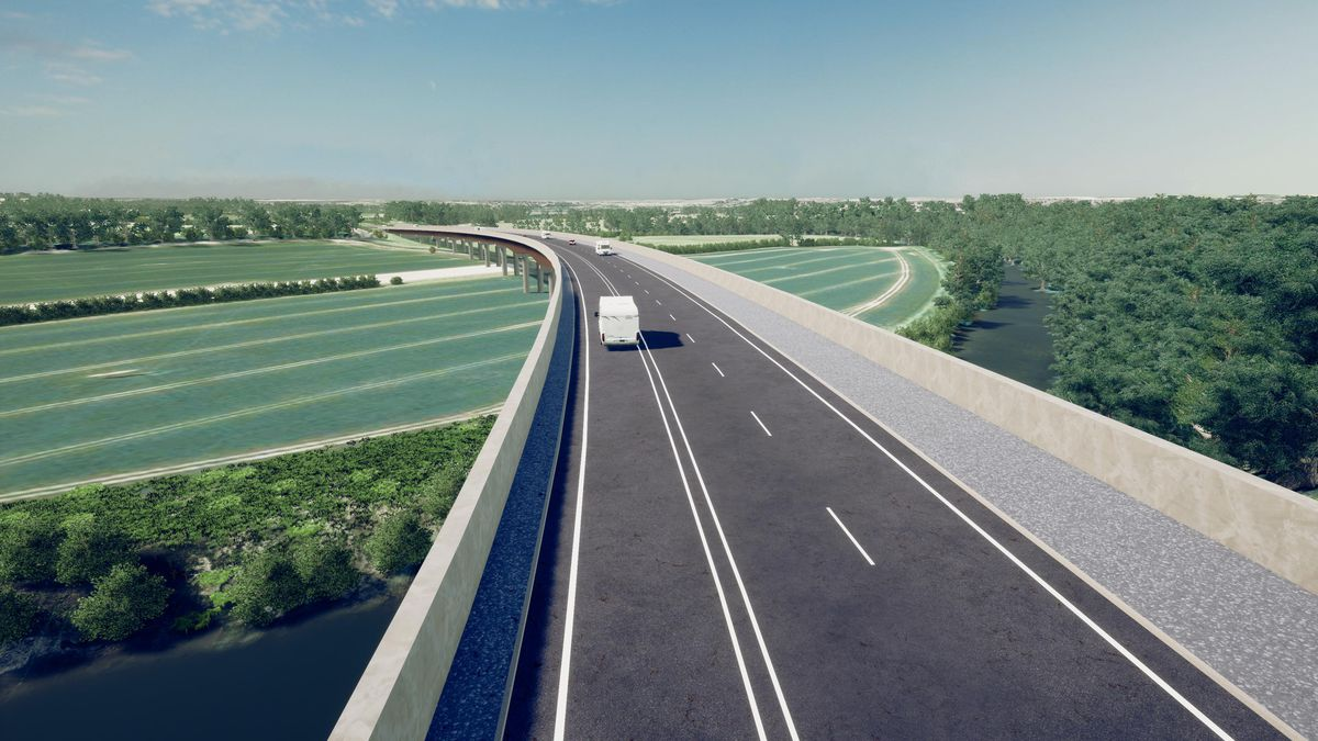 How the newly included viaduct could look on the North West Relief Road