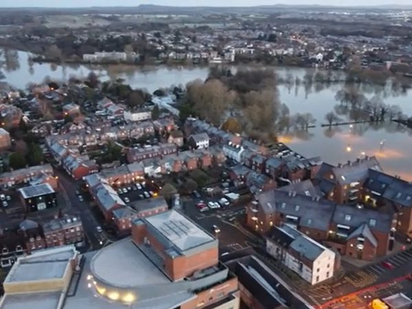 Flooding in Shrewsbury viewed from the air. Photo: James Williams
