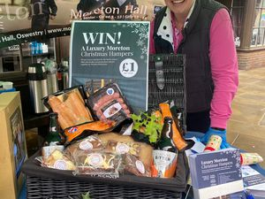 Moreton Hall's Lorna Campbell with a Christmas hamper