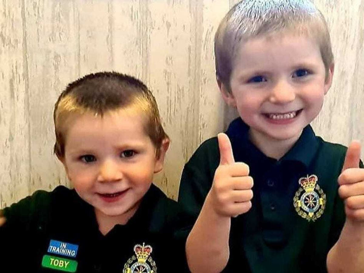 Toby, left, and Tommy, right, have sent more than 1,000 cards as thanks to key workers