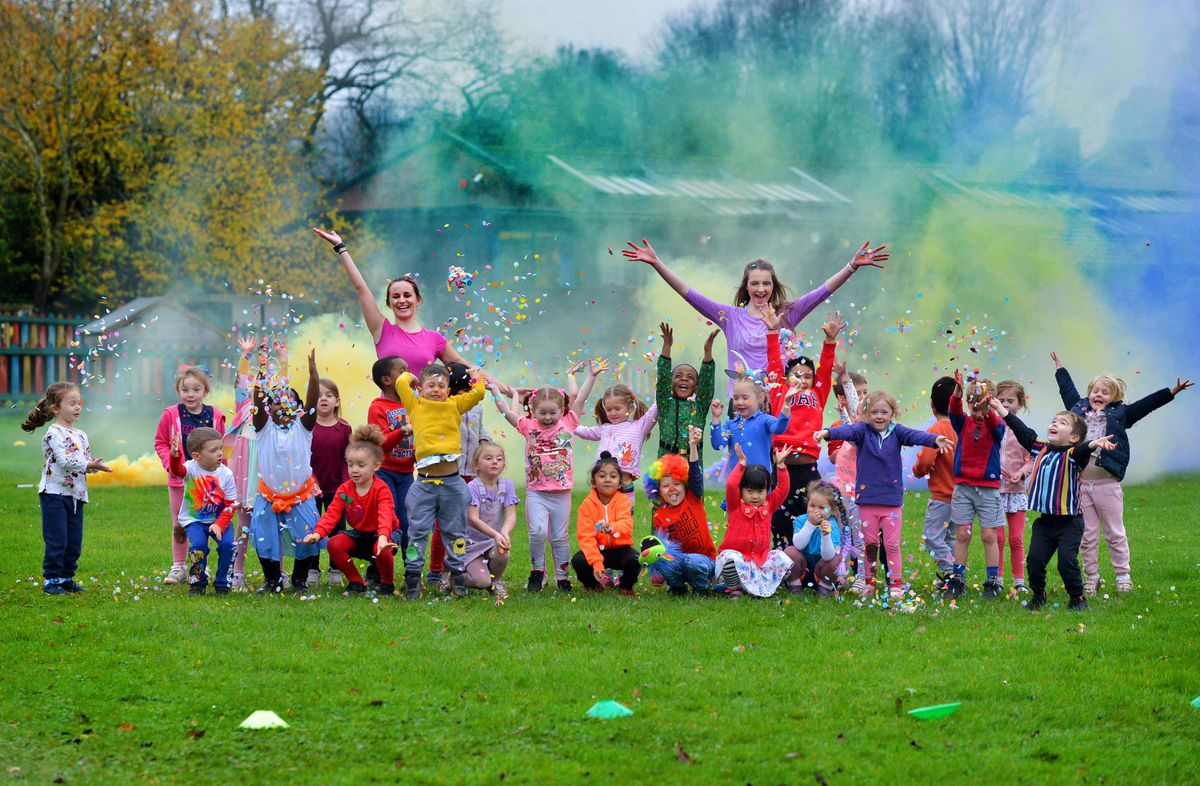 Priorslee Primary Academy School held a colour run, raising money for the Children's Ward at Princess Royal Hospital. Here is: staff: Evelyn Orme and Isabelle Cooke with Reception classes