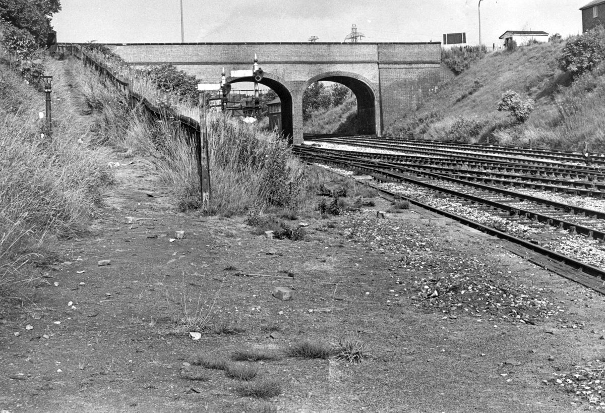 The Hawthorns Halt, in Halfords Lane, West Bromwich, around the time of its closure in 1968. It was rebuilt and reopened in 1995 with passenger figures now running at 436,562.