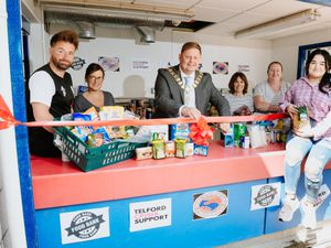 From left, Foundation manager Councillor Ian Preece, commercial manager Aimee Lorder, Mayor of Wellington Paul Davis, Councillor Angela McClements, Erin Aston of Telford Crisis Support and Bethany Leyshon of Telford Crisis Support