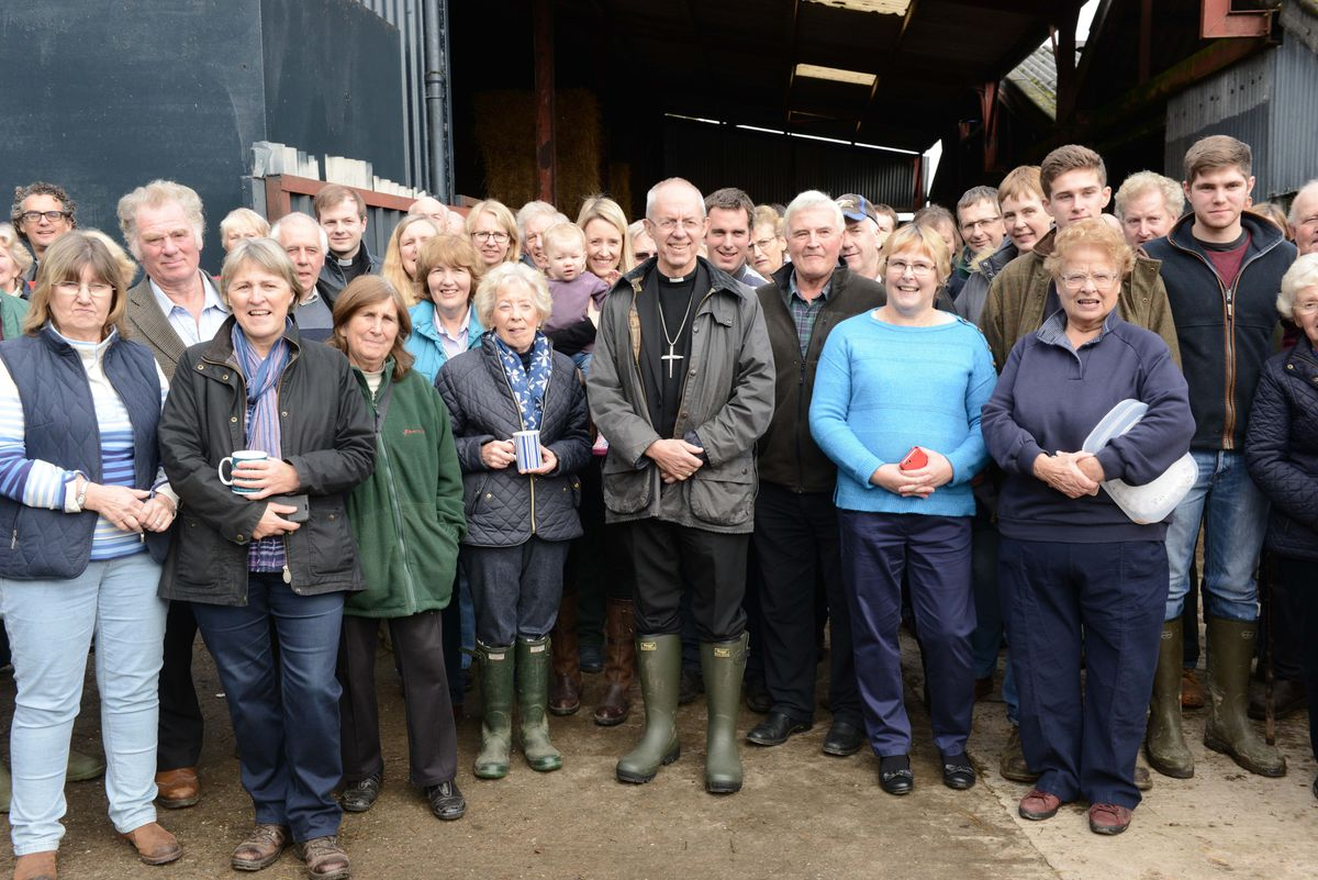 The Archbishop of Canterbury, Justin Welby, pictured as he meets members of the farming community at Oakwood Farm, Longville, Much Wenlock