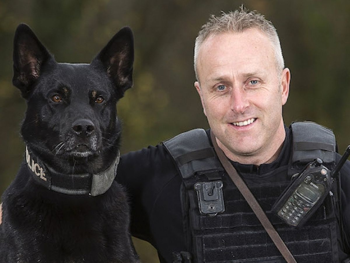 German Shepherd Max and his handler Pc Peter Lloyd