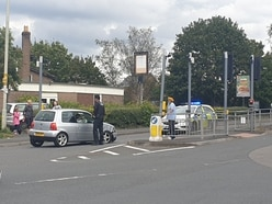 Queues after driver crashes into traffic light barrier in Telford