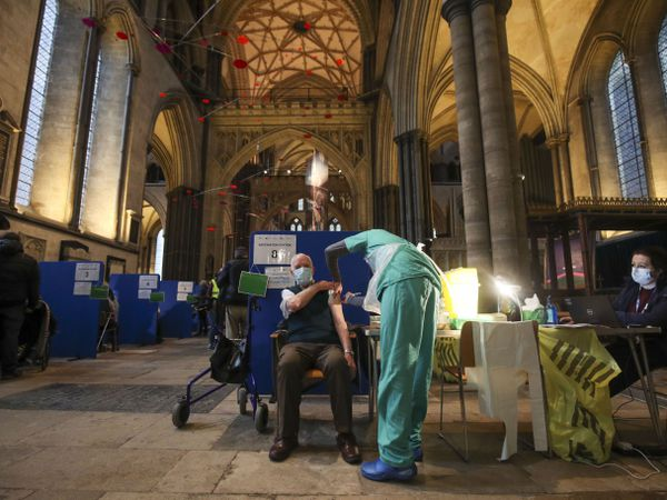 Ex-RAF Flight Sergeant Louis Godwin receives his Covid-19 vaccination at Salisbury Cathedral
