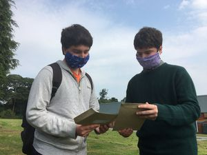 Last year saw mask wearing for students picking up their A-level results at Sir John Talbot, Whitchurch