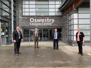 Owen Paterson MP with staff at Oswestry Leisure Centre