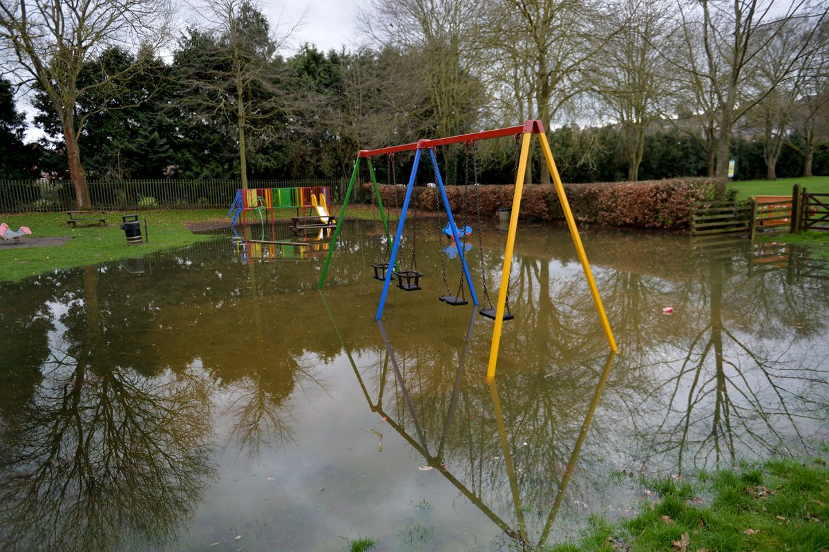 The flooded Severn Park play area in Bridgnorth