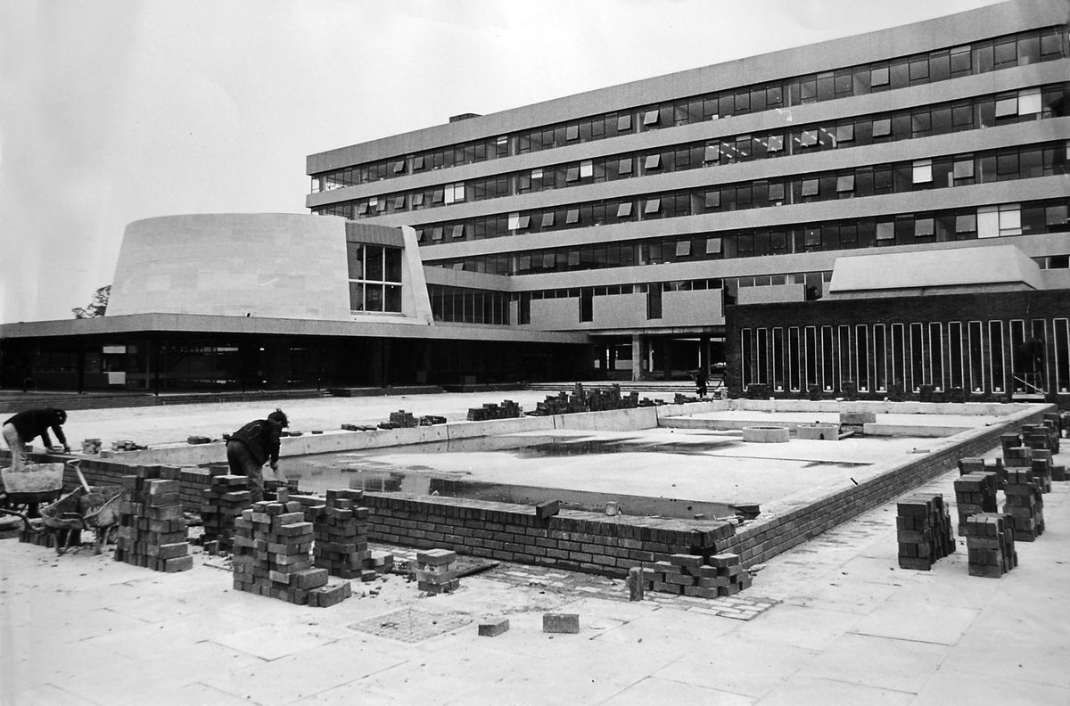 Putting some finishing touches to the complex in August 1966.