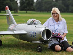 Nikki Bishop with a MIG 17 at the Weston Park Airshow International