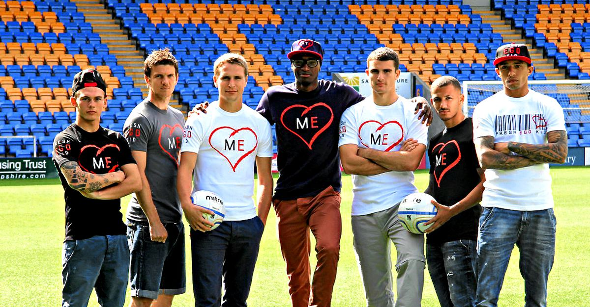 Marvin Morgan with his former Town colleagues as he began to launch his clothing range Fresh Ego Kid. Pic L-R: Jon Taylor, Shane Sherriff, Nicky Wroe, Marvin, Terry Gornell, Lionell Ainsworth, Mark Wright.