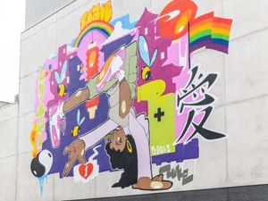 The new mural on the side of Birmingham Hippodrome opposite The Southside BuildingPhoto by Simon Hadley