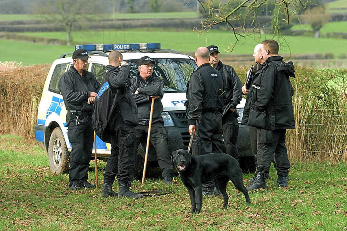 Police search teams took to the area around Orleton in a bid to find the village primary school governor Aletha Taylor