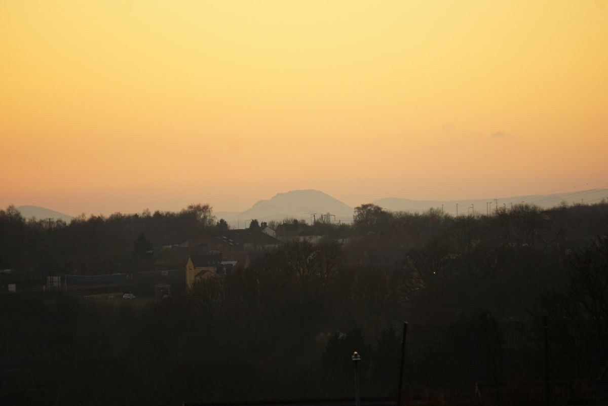 A hazy view of the Shropshire hills from Dawley on Saturday. Photo: Andrew Rudge