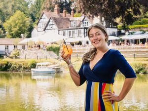 Manager Demi Lesser celebrates The Boathouse venue being named Shropshire Pub of the Year in the Pub and Bar Awards