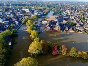 An aerial view of Shrewsbury during the height of the floods. Photo: @ChrisBaingerEA