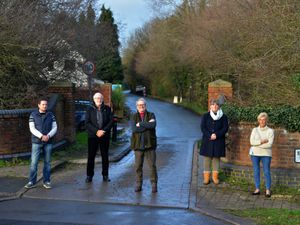 Critics of the decision to shut Horton Lane to traffic are from left Councillor Stephen Burrell, Roger Turner, Clive Matkin, Councillor Ruth Evans MBE and Pat Jones