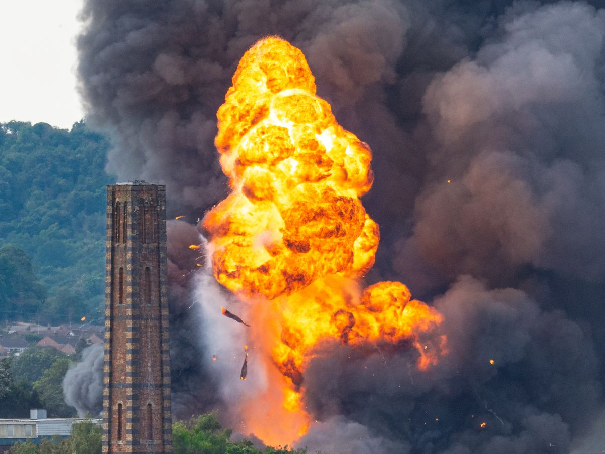 The fireball and smoke rose high above Kidderminster. Photo: Brett Pearson