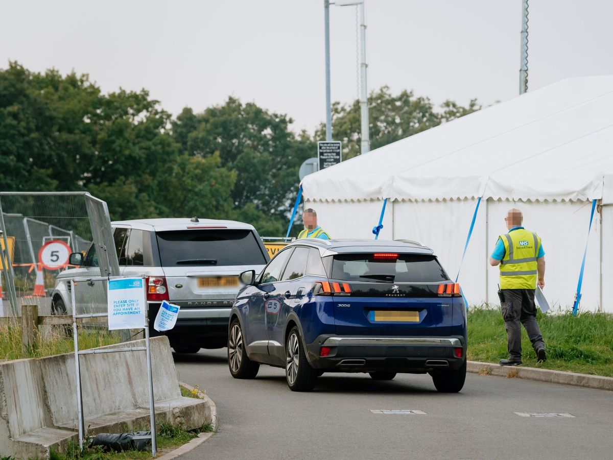 Cars entering the testing site near Ironbridge yesterday that has experienced issues