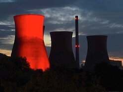 Ironbridge Power Station cooling tower lights up one last time