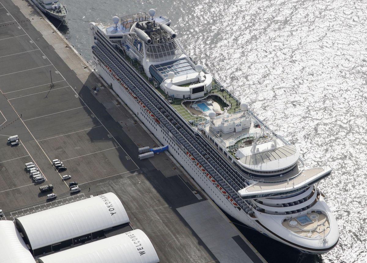The Diamond Princess cruise ship docked at Yokohama Port
