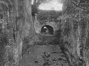 The lion's den at Hawkstone – it's behind iron railings in that cave.