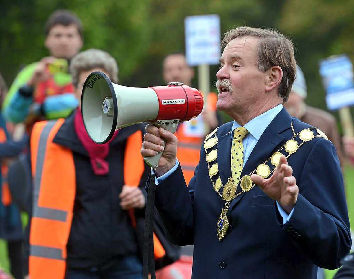 Shrewsbury mayor Miles Kenny voices his opinion