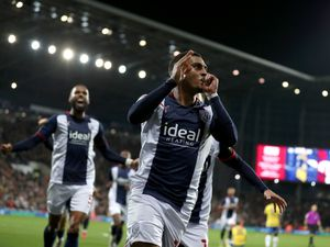 WEST BROMWICH, ENGLAND - OCTOBER 15: Karlan Grant of West Bromwich Albion celebrates after scoring a goal to make it 1-0 during the Sky Bet Championship match between West Bromwich Albion and Birmingham City at The Hawthorns on October 15, 2021 in West Bromwich, England. (Photo by Adam Fradgley/West Bromwich Albion FC via Getty Images)