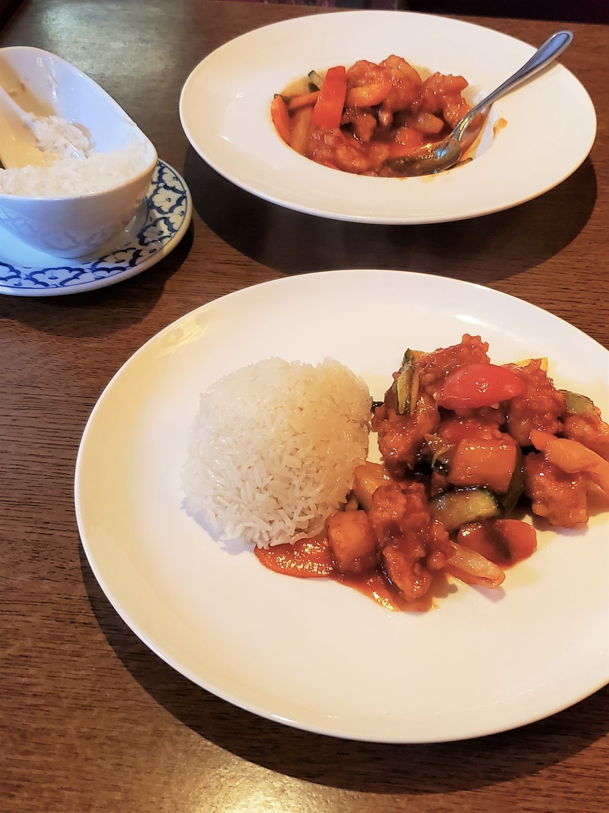Sweet and sour chicken with sticky rice