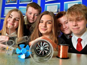 The Mary Webb School and Science College Stem competition winners: Pip Roberts, Jack Jones, Anna-Maria Tsvetkova, Marcelo  Ortuno Floria and Ruby North