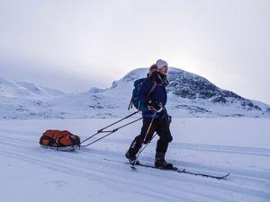 Alex Flynn on the Kungsladen Trail in the Swedish Arctic