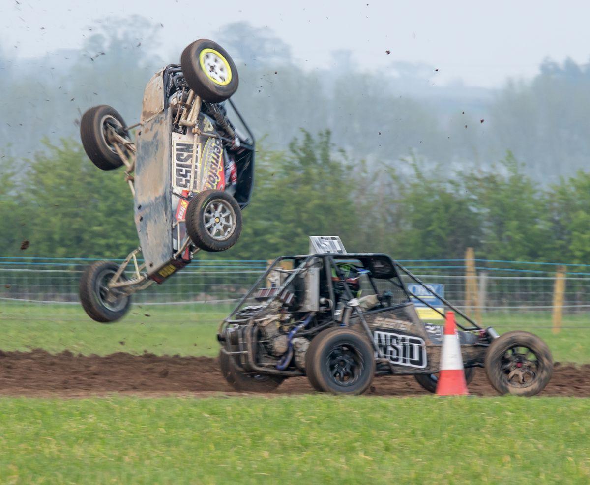 North Shropshire racer Matt Berrisford, grandson of chairman Ernie Ashley, takes off