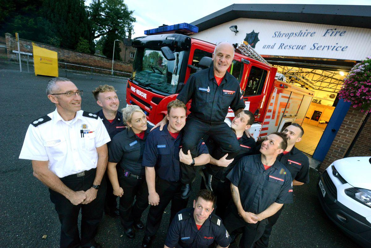 Trevor Matthews is is retiring after 35 years as a firefighter. With him is Liam Matthews, Thomas Ordidge, Christian Frain, Charlie Cartwright, Craig Hartland, Rachel Freeman, Dan Thomas and Jon Pullen