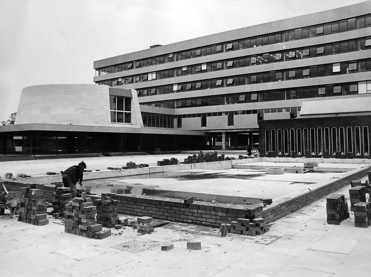 Finishing touches being put to the Shirehall in August 1966 – staff were already working in the building.