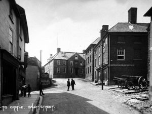 Bishop's Castle as young Gladys would have remembered it. This is Salop Street.