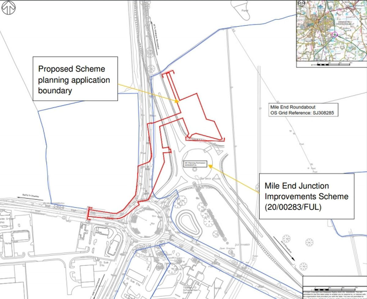 A map showing the location of the new bridge over the new road, with the existing roundabout below