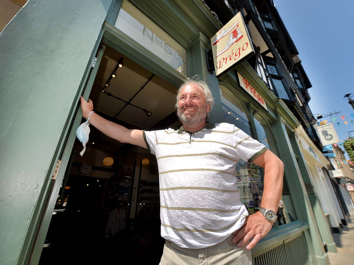 Mark Edwards outside his Prego shoe shop in Shrewsbury
