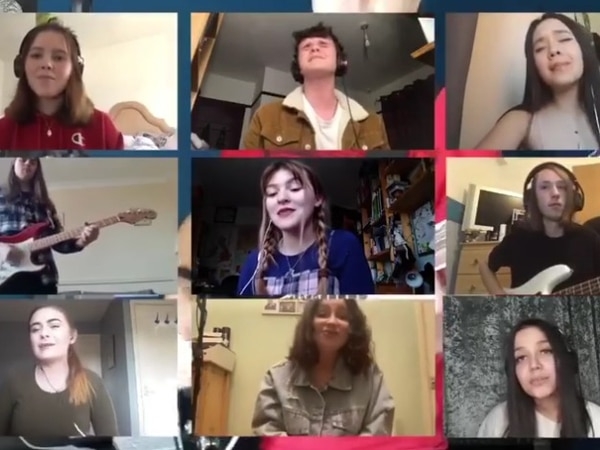 I'm Still Standing: Teacher teams up with students to create music video from home - watch