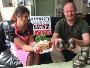 Lindsay Chaplin left, and Tom Parker who will have their Lindsay's Cakes and Odin Sauces at Oswestry Food Festival.