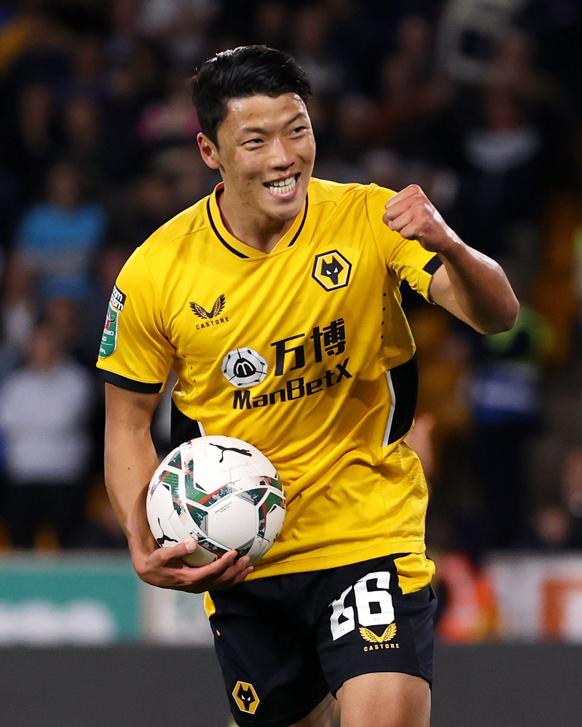 Hwang Hee-chan of Wolverhampton Wanderers celebrates (Photo by Jack Thomas - WWFC/Wolves via Getty Images).