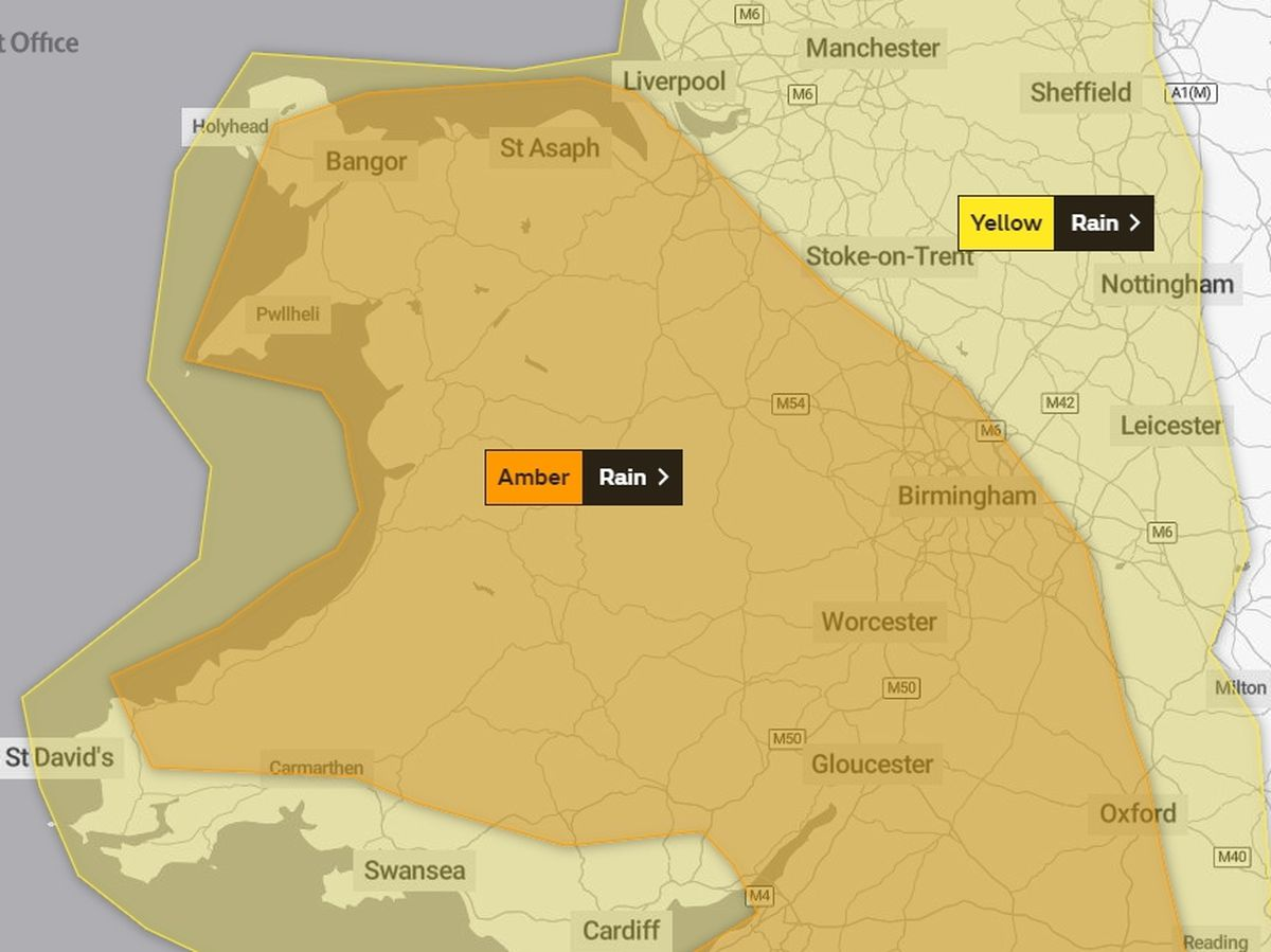 Severe weather warnings issued by the Met Office for the region as of midday on Saturday