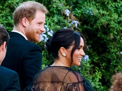 Harry and Meghan attend star-studded wedding bash of friend who set them up