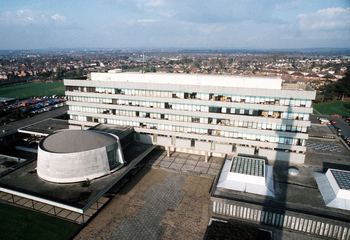 No prizes for guessing the viewpoint for this 1988 photograph of the complex.